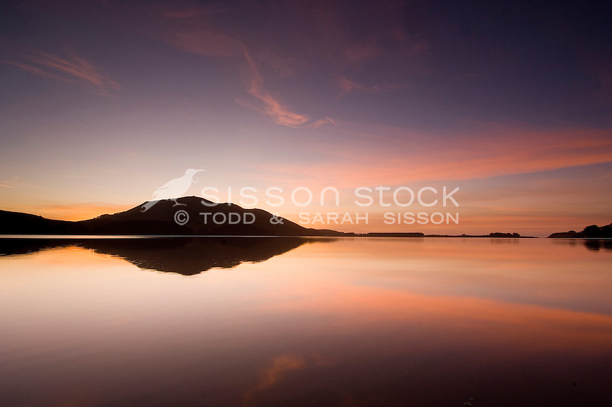 Serene sunrise relfection at Hoopers Inlet on the Otago Peninsula, South Island, New Zealand - stock photo, canvas, fine art print