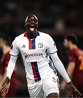 Football Soccer: Europa League Round of 16 second leg, Roma-Lyon, stadio Olimpico, Roma, Italy, March 16,  2017. <br /> Lyon's Mounter Diakhaby celebrates after scoring during the Europe League football soccer match between Roma and Lyon at the Olympique stadium, March 16,  2017. <br /> Despite losing 2-1, Lyon reach the quarter finals for 5-4 aggregate win.<br /> UPDATE IMAGES PRESS/Isabella Bonotto