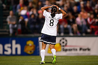 Sky Blue FC forward Monica Ocampo (8) reacts to a missed scoring opportunity. The Western New York Flash defeated Sky Blue FC 2-0 during a National Women's Soccer League (NWSL) semifinal match at Sahlen's Stadium in Rochester, NY, on August 24, 2013.