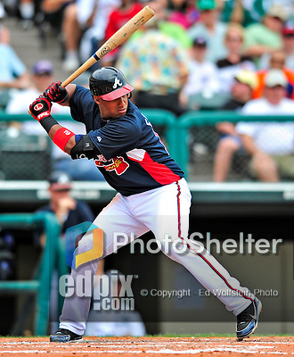 17 March 2009: Atlanta Braves' infielder Yunel Escobar in action during a Spring Training game against the New York Mets at Disney's Wide World of Sports in Orlando, Florida. The Braves defeated the Mets 5-1 in the Saint Patrick's Day Grapefruit League matchup. Mandatory Photo Credit: Ed Wolfstein Photo
