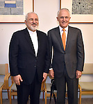 Iranian Foreign Minister Javad Zarif (L), and Australian Prime Minister Malcolm Turnbull (R) meet for talks at Parliament House in Canberra on March 15, 2016. AFP PHOTO/ MARK GRAHAM