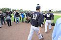 (L-R) Masahiro Tanaka, Hiroki Kuroda (Yankees),<br /> FEBRUARY 15, 2014 - MLB :<br /> Masahiro Tanaka and Hiroki Kuroda of the New York Yankees walks onto the field during the New York Yankees spring training camp in Tampa, Florida, United States. (Photo by AFLO)