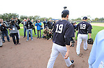 (L-R) Masahiro Tanaka, Hiroki Kuroda (Yankees),<br /> FEBRUARY 15, 2014 - MLB :<br /> Masahiro Tanaka and Hiroki Kuroda of the New York Yankees walks onto the field during the New York Yankees spring training camp in Tampa, Florida, United States. (Photo by AFLO)