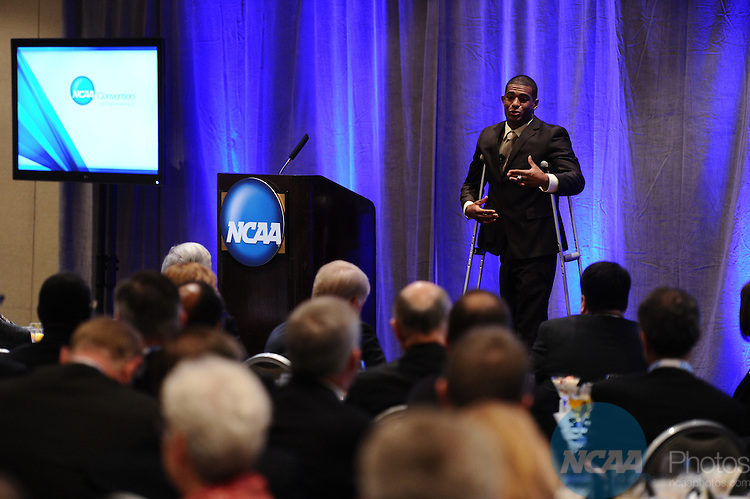 13 JAN 2012: The President's Breakfast at the 2012 NCAA Convention held at the JW Marriott and Indianapolis Convention Center in Indianapolis, IN.  Stephen Nowland/NCAA Photos.Pictured: Anthony Robles