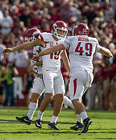 Hawgs Illustrated/BEN GOFF <br /> Connor Limpert (left), Arkansas kicker and long snapper Robert Decker celebrate a Limpert field goal in the first quarter against South Carolina Saturday, Oct. 7, 2017, during the game at Williams-Brice Stadium in Columbia, S.C.