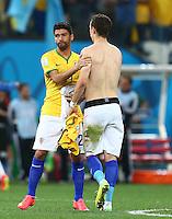 Eduardo of Croatia, Brazilian born, wears the Brazil shirt of Willian at full time
