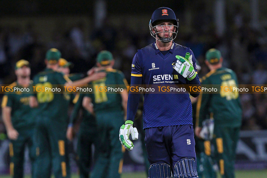 Daniel Lawrence of Essex leaves the field having been dismissed during Notts Outlaws vs Essex Eagles, NatWest T20 Blast Cricket at Trent Bridge on 8th August 2016