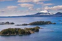 Sitka Sound, Inactive volcano Mt. Edgecumbe, Sitka, southeast Alaska.