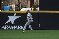 Stony Brook Seawolves outfielder Travis Jankowski #6 fielding a fly ball during a game against the  East Carolina University Pirates at Clark-LeClair Stadium  on March 4, 2012 in Greenville, NC.  East Carolina defeated Stony Brook 4-3. (Robert Gurganus/Four Seam Images)