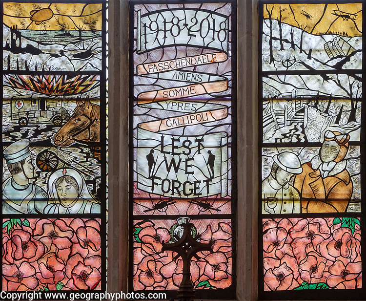 Stained glass memorial window 1918-2018 First World War centenary, Chelsworth church, Suffolk, England, UK