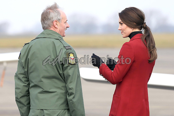 14 February 2017 - Princess Kate Duchess of Cambridge with Neil Moxon during a visit to the RAF Air Cadets at RAF Wittering in Stamford, Lincolnshire.  The Duchess of Cambridge is Royal Patron and Honorary Air Commandant of the Air Cadet Organisation. Photo Credit: ALPR/AdMedia