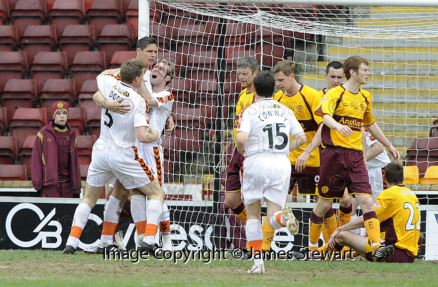 26/04/2008   Collect Pic: James Stewart.File Name : sct_jspa12_motherwell_v_dundee_utd.LEE WILKIE IS CONGRATULATED AFTER HE SCORES UNITED EQUALISING SECOND GOAL.James Stewart Photo Agency 19 Carronlea Drive, Falkirk. FK2 8DN      Vat Reg No. 607 6932 25.Studio      : +44 (0)1324 611191 .Mobile      : +44 (0)7721 416997.E-mail  :  jim@jspa.co.uk.If you require further information then contact Jim Stewart on any of the numbers above........