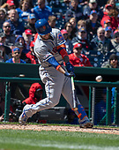 New York Mets catcher Tomas Nido (3) flies out in the second inning against the Washington Nationals at Nationals Park in Washington, DC on Sunday, March 31, 2018. <br /> Credit: Ron Sachs / CNP<br /> (RESTRICTION: NO New York or New Jersey Newspapers or newspapers within a 75 mile radius of New York City)