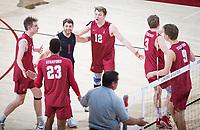 STANFORD, CA - March 14, 2019: Leo Henken, Jaylen Jasper, Kyle Dagostino, Jordan Ewert, Paul Bischoff, Stephen Moye at Maples Pavilion. The #8 Stanford Cardinal fell to the #6 Pepperdine Waves 3-0.