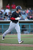 Scott Heineman (18) of the High Desert Mavericks runs to first base during a game against the Lancaster JetHawks at The Hanger on April 16, 2016 in Lancaster, California. Lancaster defeated High Desert, 3-2. (Larry Goren/Four Seam Images)