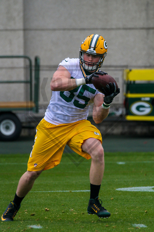Green Bay Packers tight end Beau Sandland (85) during an Organized Team Activity on May 23, 2017 at Clarke Hinkle Field in Green Bay, Wisconsin.  (Brad Krause/Krause Sports Photography)