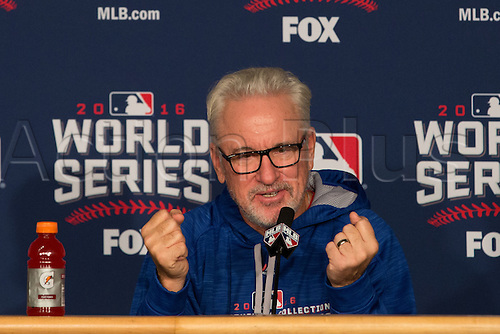 02.11.2016. Cleveland, OH, USA.  Chicago Cubs manager Joe Maddon (70) talks with the media prior to  game 7 of the 2016 World Series against the Chicago Cubs and the Cleveland Indians at Progressive Field in Cleveland, OH.