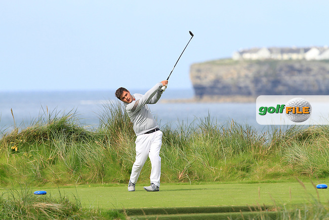 Stuart Bleakley (Shandon Park) on the 4th tee during Round 2 of The South of Ireland in Lahinch Golf Club on Sunday 27th July 2014.<br /> Picture:  Thos Caffrey / www.golffile.ie