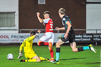 Fleetwood Town's forward Harvey Saunders (32) rounds the keeper during the The Leasing.com Trophy match between Fleetwood Town and Liverpool U21 at Highbury Stadium, Fleetwood, England on 25 September 2019. Photo by Stephen Buckley / PRiME Media Images.
