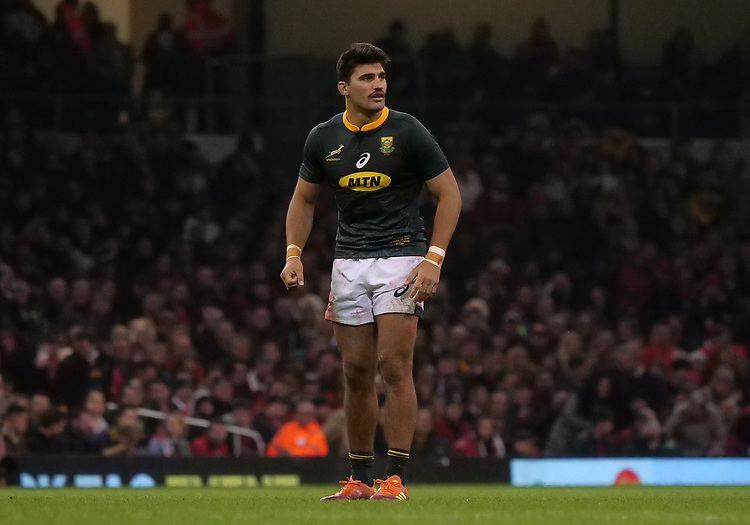 South Africa's Damian De Allende during the game<br /> <br /> Photographer Ian Cook/CameraSport<br /> <br /> Under Armour Series Autumn Internationals - Wales v South Africa - Saturday 24th November 2018 - Principality Stadium - Cardiff<br /> <br /> World Copyright © 2018 CameraSport. All rights reserved. 43 Linden Ave. Countesthorpe. Leicester. England. LE8 5PG - Tel: +44 (0) 116 277 4147 - admin@camerasport.com - www.camerasport.com