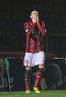 Jamie Devitt of Morecambe celebrates scoring his penalty during the Sky Bet League 2 match between Wycombe Wanderers and Morecambe at Adams Park, High Wycombe, England on 2 January 2016. Photo by Andy Rowland / PRiME Media Images