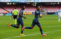 Jonathan de Guzman  celebrates after scoring   in action during the Italian Serie A soccer match between   SSC Napoli and Empolii    at San Paolo   stadium in Naples , December 07, 2014<br /> esultanza zaoata  Jonathan de Guzman