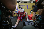Rick Zabel (GER) Team Katusha Alpecin exhausted after crossing the finish line at the end of Stage 11 of the 2018 Tour de France running 108.5km from Albertville to La Rosiere Espace San Bernardo, France. 18th July 2018. <br /> Picture: ASO/Pauline Ballet | Cyclefile<br /> All photos usage must carry mandatory copyright credit (&copy; Cyclefile | ASO/Pauline Ballet)