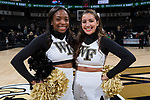 (L-R) Wake Forest Demon Deacons senior cheerleaders Kelechi Ogbanna and Monica Gomez pose for a photo following the ACC men's basketball game between the Notre Dame Fighting Irish and the Wake Forest Demon Deacons at the LJVM Coliseum on February 24, 2018 in Winston-Salem, North Carolina. The Fighting Irish defeated the Demon Deacons 76-71.  (Brian Westerholt/Sports On Film)