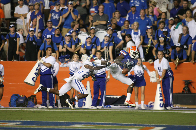 """Florida wide receiver Deonte Thompson misses a pass that could have been a touchdown during the second half of UK's game against Florida at the """"Swamp"""" in Gainesville, Florida on Saturday, Sept. 25, 2010. Photo by Brandon Goodwin 
