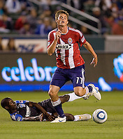 Chivas USA forward Justin Braun (17) moves past San Jose Earthquakes defender Ike Opara (6) on his way to the goal. CD Chivas USA defeated the San Jose Earthquakes 3-2 at the  at Home Depot Center stadium in Carson, California on Saturday April 24, 2010.  .