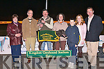 WINNING DOG: Gerard O'Brien Vice chairperson of Gaelscoil Mhic Easmainn parents council presenting Liam and Jane Dowling owners of Ballymac Linda winner of the Gaelscoil Mhic Easmainn Buster Final at the Kingdom Greyhound Stadium on Saturday l-r: Ma?ire Mhic Giolla Rua (PrIomhoide), Gerard O'Brien (Vice chairperson parents council), Liam and Jane Dowling Stephen, Reidy, Declan Dowling (General manager KGS) and Helen Enright (Treasurer parents council).