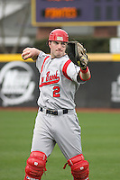 Stony Brook Seawolves catcher Kevin Krause #2 throwing in the outfield before  a game against the East Carolina University Pirates at Clark-LeClair Stadium on March 4, 2012 in Greenville, NC.  East Carolina defeated Stony Brook 4-3. (Robert Gurganus/Four Seam Images)