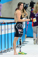 PICTURE BY ALEX BROADWAY /SWPIX.COM - 2012 London Paralympic Games - Day Seven - Swimming, Aquatic Centre, Olympic Park, London, England - 05/09/12 - Ellie Cole of Australia after competing in the Women's 50m Freestyle Finals.