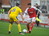 Fleetwood Town's Danny Andrew under pressure from AFC Wimbledon's Anthony Hartigan<br /> <br /> Photographer Kevin Barnes/CameraSport<br /> <br /> The EFL Sky Bet Championship - Fleetwood Town v AFC Wimbledon - Saturday 10th August 2019 - Highbury Stadium - Fleetwood<br /> <br /> World Copyright © 2019 CameraSport. All rights reserved. 43 Linden Ave. Countesthorpe. Leicester. England. LE8 5PG - Tel: +44 (0) 116 277 4147 - admin@camerasport.com - www.camerasport.com