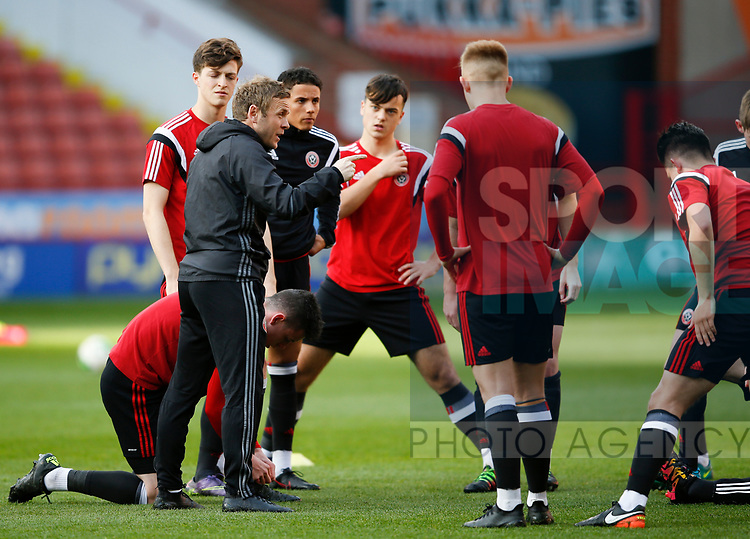 Del Geary talks to his players during the U18 Professional Development League 2 play off semi final match at  Bramall Lane, Sheffield. Picture date: April 21st 2017. Pic credit should read: Simon Bellis/Sportimage