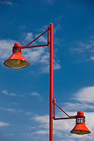 Modern street lighting on a housing estate in Sable sur Sauthe, France