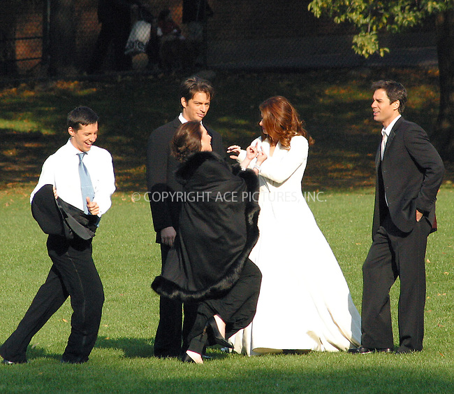 "Debra Messing, Harry Connick Jr., Eric McCormack, Sean Hayes and Megan Mullally are filming ""Will & Grace"" in Central Park, New York. November 4, 2002. Please byline: Alecsey Boldeskul/NY Photo Press.   ..*PAY-PER-USE*      ....NY Photo Press:  ..phone (646) 267-6913;   ..e-mail: info@nyphotopress.com"