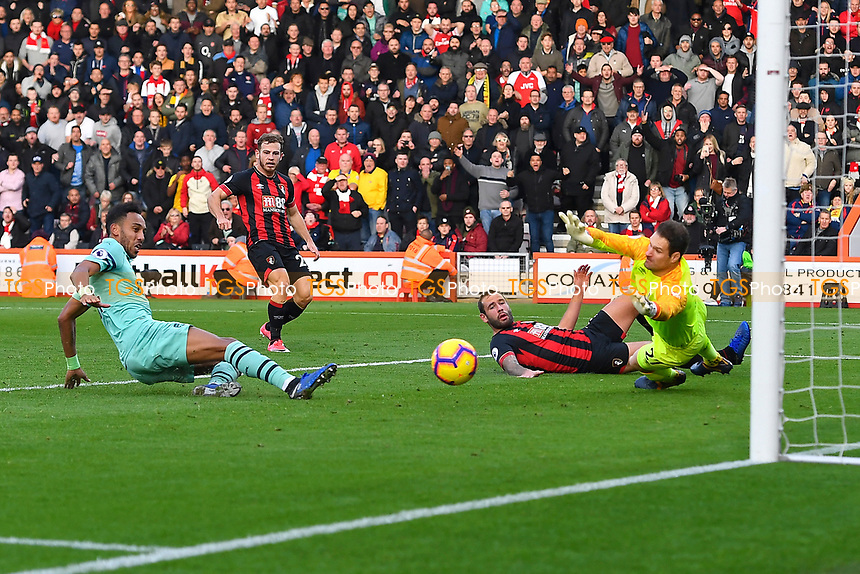 Pierre-Emerick Aubameyang of Arsenal left scores the second goal past Asmir Begovic of AFC Bournemouth during AFC Bournemouth vs Arsenal, Premier League Football at the Vitality Stadium on 25th November 2018
