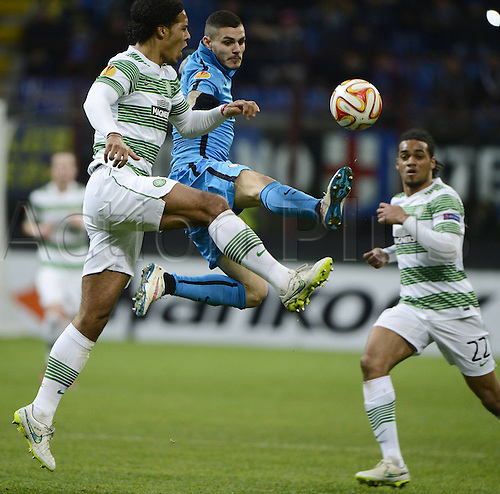 26.02.2015. Milan, Italy. Europa League football. Inter Milan versus Celtic.  Mauro Icardi Inter, Virgil Van Dijik Celtic