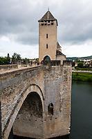 France, Cahors. Pont Valentré stone arch bridge.