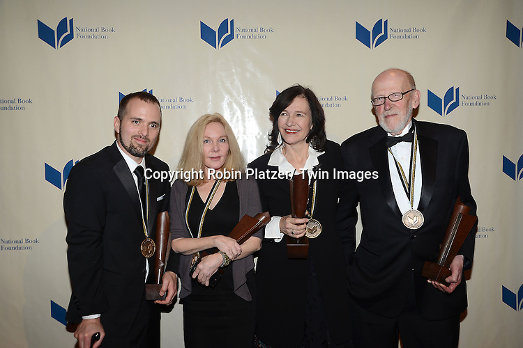 The winners,  Wiliam Alexander, Katherine Boo, Louise Erdrich and David Ferry pose at the 2012 National Book Awards Dinner and Ceremony on November 14, 2012 at Cipriani Wall Street in New York City.