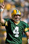 Quarterback Brett Favre #4 of the Green Bay Packers celebrates a touchdown against the New Orleans Saints at Lambeau Field on October 9, 2005 in Green Bay, Wisconsin. The Packers beat the Saints 52-3. (Photo by David Stluka)