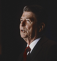 Washington DC., USA, March  3-1-1984<br /> President Ronald Reagan delivers remarks at an Event Sponsored by the American Legion Auxiliary Credit: Mark Reinstein/MediaPunch