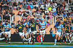 06/09/2018. Malvinas Argentinas Stadium, Mendoza, Argentina. The Rugby Championship 2018, Round 2, Los Pumas beat the Spingboks at home 32 to 19. Springboks captain Siyamthanda Kolisi breaks Los Pumas defensive line during first half of the match. /Maximiliano Aceiton/Trysportimages