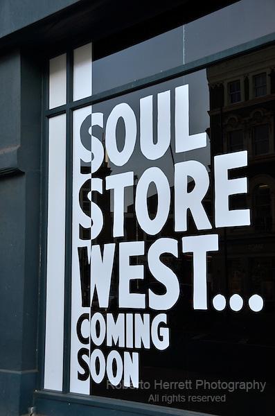 Soul Store West Coming Soon sign,, Kilburn, London, UK