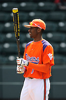 Outfielder Maleeke Gibson (1) of the Clemson Tigers prior to the Reedy River Rivalry game against the South Carolina Gamecocks on March 1, 2014, at Fluor Field at the West End in Greenville, South Carolina. South Carolina won, 10-2.  (Tom Priddy/Four Seam Images)