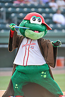 Mascot Reedy Rip'It of the Greenville Drive dresses up as Yoda for Star Wars Night before a game against the Charleston RiverDogs on Friday, August 14, 2015, at Fluor Field at the West End in Greenville, South Carolina. Charleston won 6-2. (Tom Priddy/Four Seam Images)