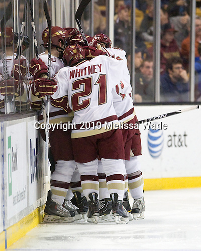 The Boston College Eagles celebrate Joe Whitney's (BC - 15) goal which made it 3-2 early in the second period. - The Boston College Eagles defeated the University of Maine Black Bears 7-6 in overtime to win the Hockey East championship on Saturday, March 20, 2010, at TD Garden in Boston, Massachusetts.