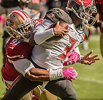 San Francisco 49ers defensive end Arik Armstead (91) sacks Tampa Bay Buccaneers quarterback Jameis Winston (3) on Sunday, October 23, 2016, at Levis Stadium in Santa Clara, California. The Buccaneers defeated the 49ers 34-17.
