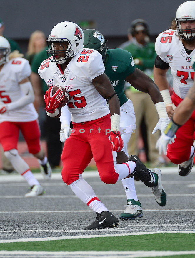 Ball State Cardinals Darian Green (25) during a game against the Eastern Michigan Eagles on September 19, 2015 at Rynearson Stadium in Ypsilanti, MI. Ball State beat Eastern Michigan 28-17.